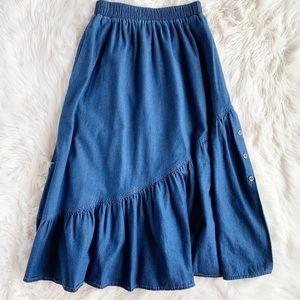 Vintage Denim Ruffle Hem Maxi Skirt